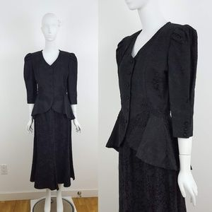 VINTAGE Black Jacquard Jacket & Skirt Set XS/S